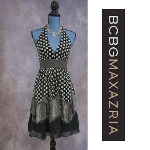 BCBGMaxAzria Silk Halter Dress Polka Dots & Stripe